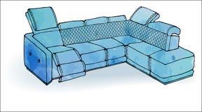 Синь софы просторной квартиры угловая современная Стоковые Изображения
