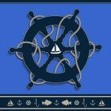 Синь штурвала морская голубая Стоковое Изображение RF