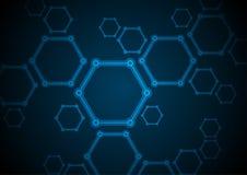 Синяя абстрактная предпосылка техника молекул шестиугольника Стоковое Изображение RF