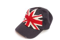 Синяя бейсбольная кепка с флагом британцев Стоковые Фото