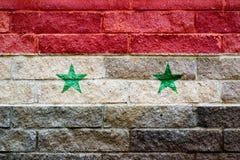 Сирийский флаг покрашенный на кирпичной стене флаг Швеция абстрактная текстурированная предпосылка Стоковые Изображения RF