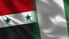 Сирия и Нигерия - 2 сигнализируйте совместно - текстура ткани стоковое фото