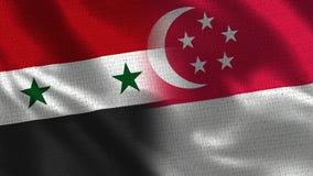 Сирия и Сингапур - 2 сигнализируйте совместно - текстура ткани стоковая фотография