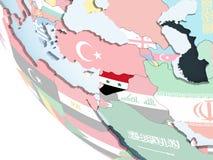 Сирия с флагом на глобусе иллюстрация штока