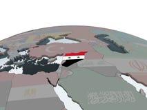 Сирия с флагом на глобусе иллюстрация вектора