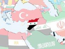 Сирия с флагом на глобусе бесплатная иллюстрация