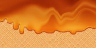 Сироп карамельки расплавленный на вафле иллюстрация вектора