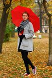 Сиротливая девушка с красным зонтиком в парке осени стоковые изображения