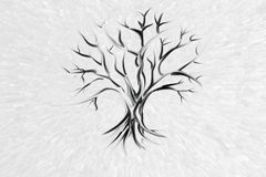 Сиротливое дерево без листьев на белой предпосылке иллюстрация вектора