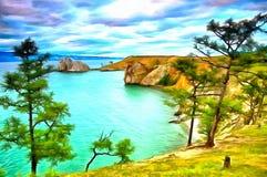 Сиротливые деревья на высоком банке озера и красивого неба бесплатная иллюстрация