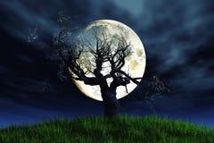 сиротливый лунный свет 3d представляет вал Стоковые Фотографии RF