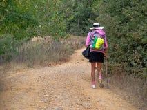 Сиротливый паломник - Сан-Хуан de Ortega стоковое фото rf