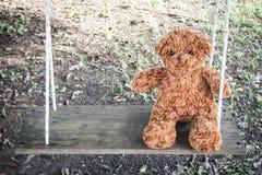 Сиротливый плюшевый медвежонок сидя на качании одно ощупывание Любимая кукла стоковое фото