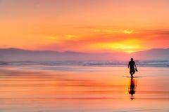 Сиротливый человек идя на пляж на красивом заходе солнца стоковое фото rf