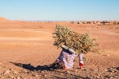 Сиротливая женщина нося нагрузку древесины в пустыне Марокко 11-ое января 2017 Стоковое Изображение