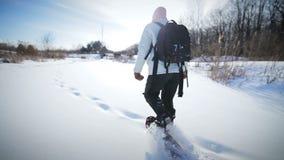Сиротливая женщина Snowshoeing в природе акции видеоматериалы