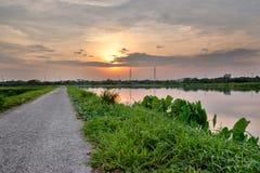 Сиротливая дорога водит к славному заходу солнца Стоковые Фотографии RF