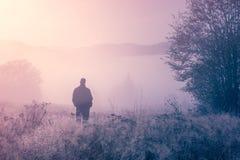 Сиротливая персона в тумане утра. Стоковые Фотографии RF