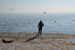 Сиротливая персона смотря море Стоковое Фото