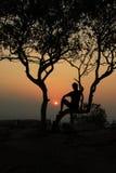сиротливый заход солнца Стоковое Изображение