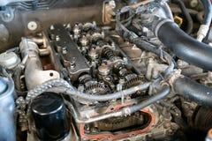 Система камшафта близнецов двигателя автомобиля главная с цепью времени ролика стоковые фото