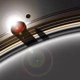 Система кольца газового гиганта и луна Стоковые Изображения