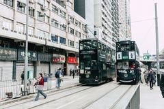 Система одно трамвая Гонконга самой предыдущей системы общественного транспорта Стоковые Изображения