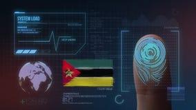 Система опознавания отпечатка пальцев биометрическая просматривая Национальность Мозамбика стоковое фото