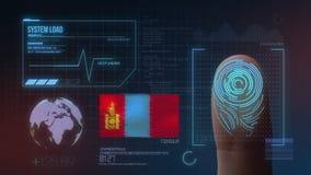 Система опознавания отпечатка пальцев биометрическая просматривая Национальность Монголии стоковое фото rf