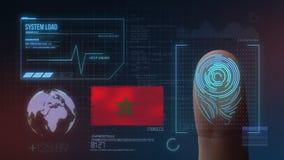 Система опознавания отпечатка пальцев биометрическая просматривая Марокканськая национальность стоковые изображения rf