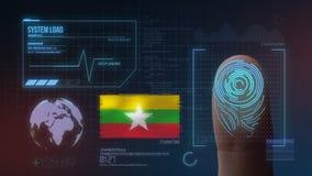 Система опознавания отпечатка пальцев биометрическая просматривая Национальность Мьянмы стоковые фото