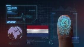 Система опознавания отпечатка пальцев биометрическая просматривая Нидерландская национальность стоковое фото