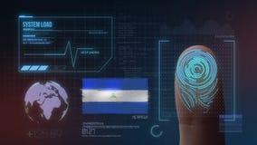 Система опознавания отпечатка пальцев биометрическая просматривая Национальность Никарагуа стоковое изображение rf