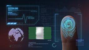 Система опознавания отпечатка пальцев биометрическая просматривая Национальность Нигерии стоковая фотография rf