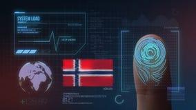 Система опознавания отпечатка пальцев биометрическая просматривая Национальность Норвегии стоковое фото