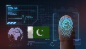 Система опознавания отпечатка пальцев биометрическая просматривая Национальность Пакистана стоковое изображение