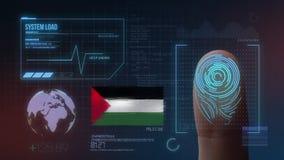 Система опознавания отпечатка пальцев биометрическая просматривая Национальность Палестины стоковые фото