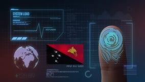 Система опознавания отпечатка пальцев биометрическая просматривая Национальность Папуаой-Нов Гвинеи стоковая фотография rf