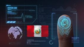 Система опознавания отпечатка пальцев биометрическая просматривая Национальность Перу стоковые фотографии rf