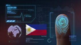 Система опознавания отпечатка пальцев биометрическая просматривая Национальность Филиппин стоковые изображения rf
