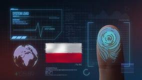 Система опознавания отпечатка пальцев биометрическая просматривая Национальность Польши стоковое изображение