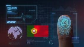Система опознавания отпечатка пальцев биометрическая просматривая Национальность Португалии стоковая фотография rf