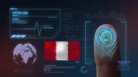 Система опознавания отпечатка пальцев биометрическая просматривая Национальность Перу стоковые изображения rf