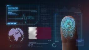 Система опознавания отпечатка пальцев биометрическая просматривая Национальность Катара стоковое фото