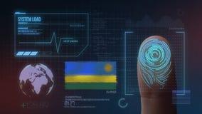 Система опознавания отпечатка пальцев биометрическая просматривая Национальность Руанды стоковое изображение