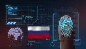 Система опознавания отпечатка пальцев биометрическая просматривая Национальность России стоковая фотография