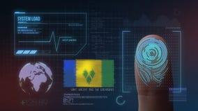 Система опознавания отпечатка пальцев биометрическая просматривая Национальность Сент-Винсент и Гренадины стоковая фотография