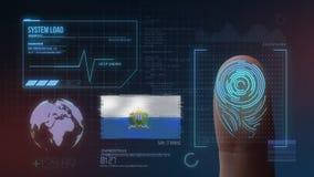 Система опознавания отпечатка пальцев биометрическая просматривая Национальность Сан-Марино стоковое фото rf