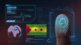 Система опознавания отпечатка пальцев биометрическая просматривая São Tomé и национальность PrÃncipe стоковое фото