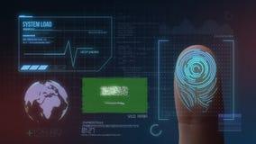 Система опознавания отпечатка пальцев биометрическая просматривая Национальность Саудовской Аравии стоковая фотография rf